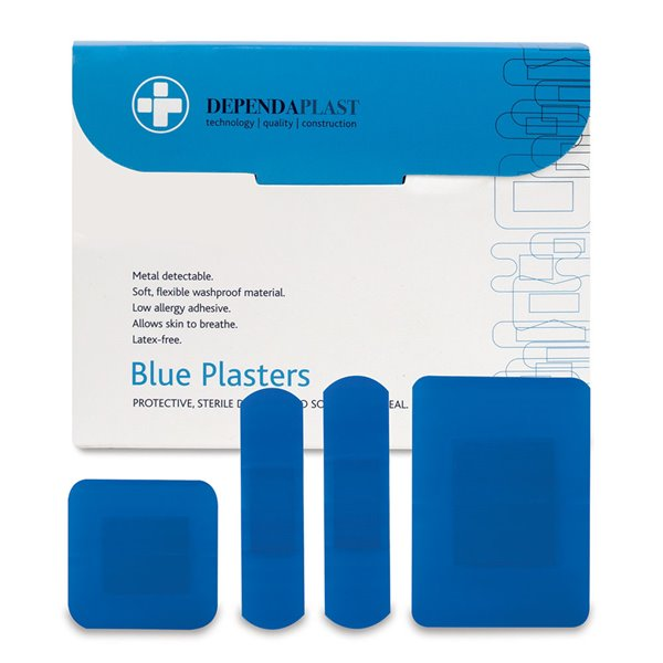Equipment Reliance Dependaplast Blue Plasters Assorted Sizes PK100