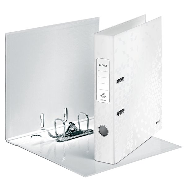 Lever Arch Files Leitz WOW Lever Arch File A4 50mm Pearl White PK10