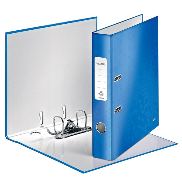 Lever Arch Files Leitz WOW Lever Arch File A4 50mm Blue Metallic PK10