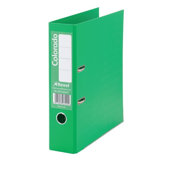 Lever Arch Files Rexel Colorado Lever Arch File Foolscap 80mm Green PK10