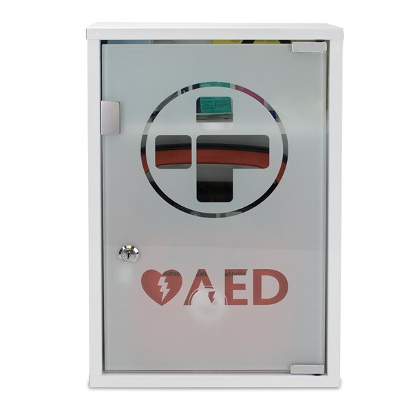 AED (ALARMED) Metal Wall Cabinet with Glass Door Lockable