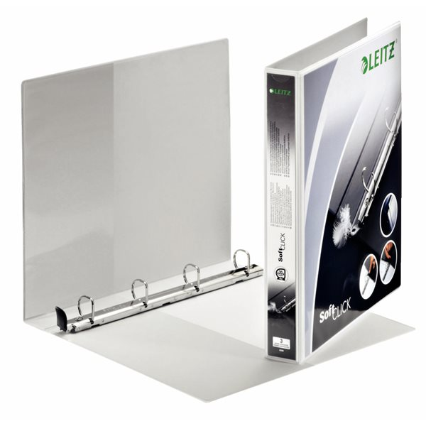 Leitz Prem SoftClick Pres Binder A4 4 D-Ring 20mm WH PK6