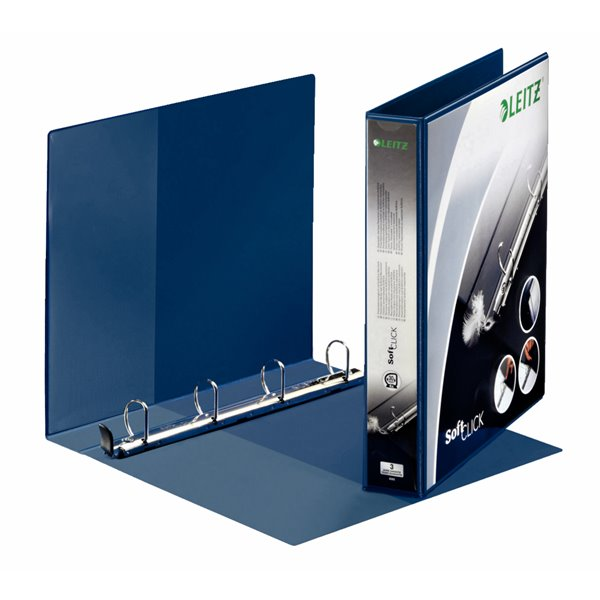 Leitz Prem SoftClick Pres Binder A4 4 D-Ring 30mm BL PK6