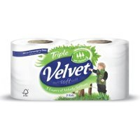 Toilet Tissue & Dispensers Velvet Toilet Roll White Pack 12 For The Price of Pack 9