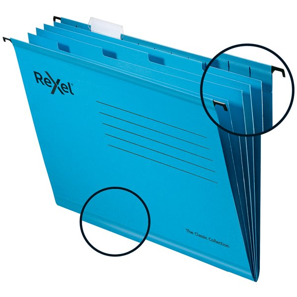 Rexel Classic Suspension Files Foolscap Blue PK10