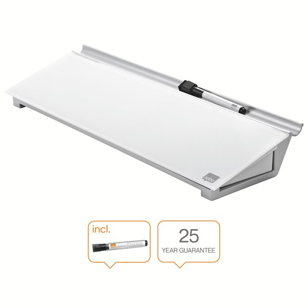 Non-Magnetic Nobo Glass Desktop Whiteboard Pad Brilliant White