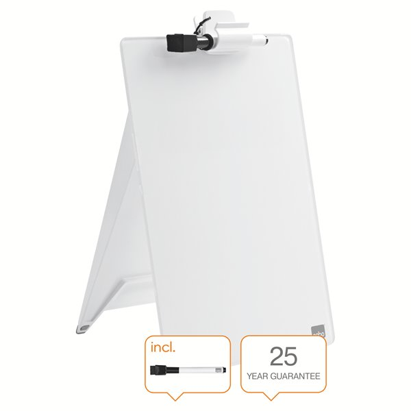 Non-Magnetic Nobo Glass Desktop Whiteboard Easel Brilliant White
