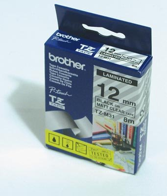 Labelling Tapes & Labels Brother TZES131 Black On Clear Strong Label Tape 12mmx8m
