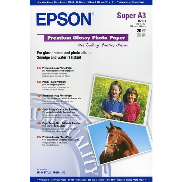 Photo Paper Epson C13S041316 Glossy Photo Paper A3Plus 20 Sheets