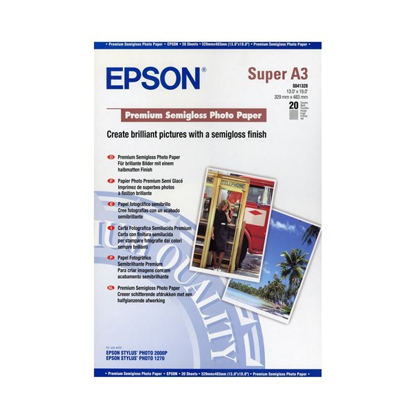 Epson C13S041328 Semi Gloss Photo Paper A3Plus 20 Sheets