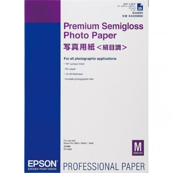 Photo Paper Epson C13S042093 Semi Gloss Photo Paper A2 25 Sheets
