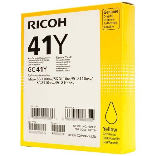 Ricoh 405768 GC41YL Yellow Gel Ink 600