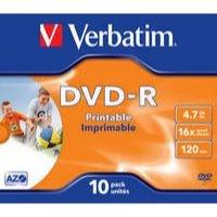 Verbatim DVD-R 4.7GB Printable Jewel Case Box of 10